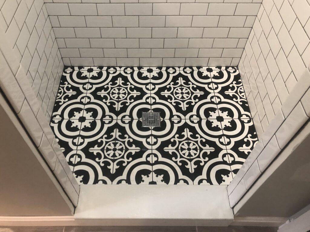 photo of custom tile shower floor