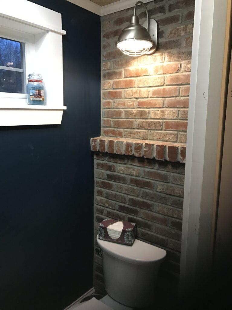brick veneer behind the flush in the water closet
