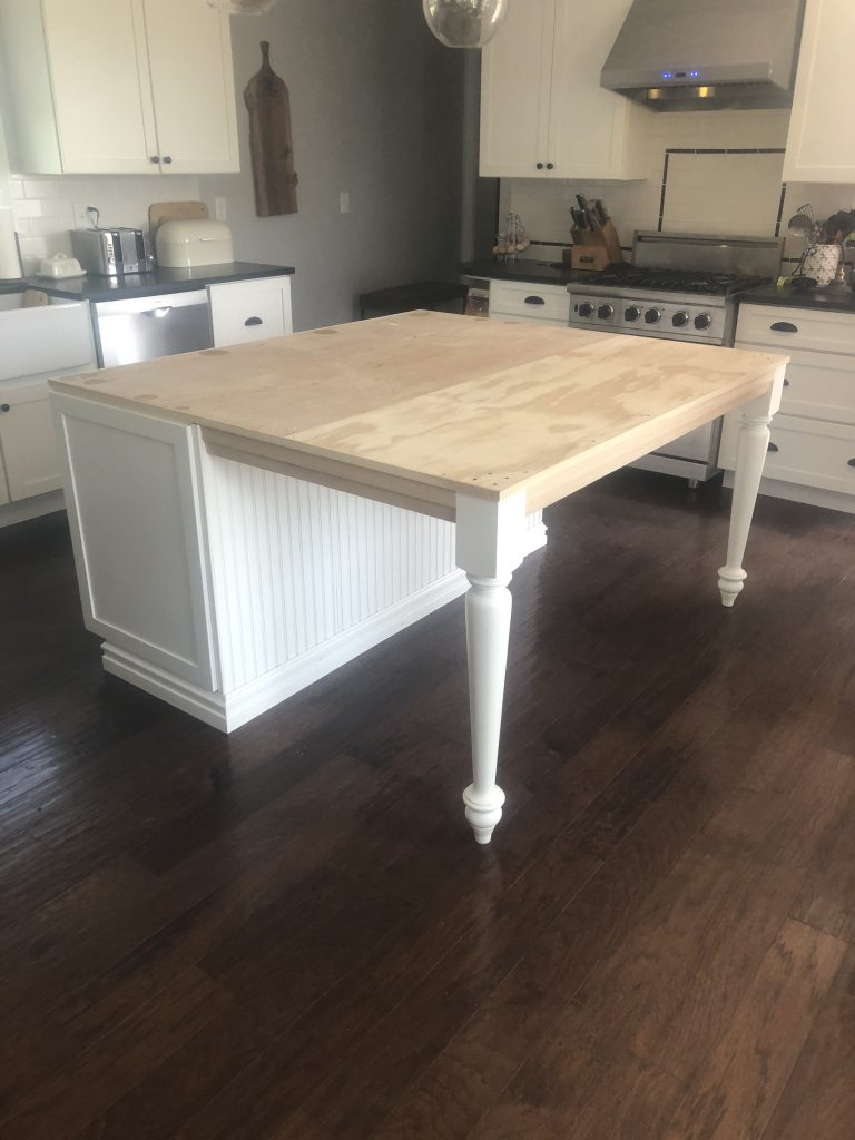 Custom Island altered for a larger piece of granite countertop