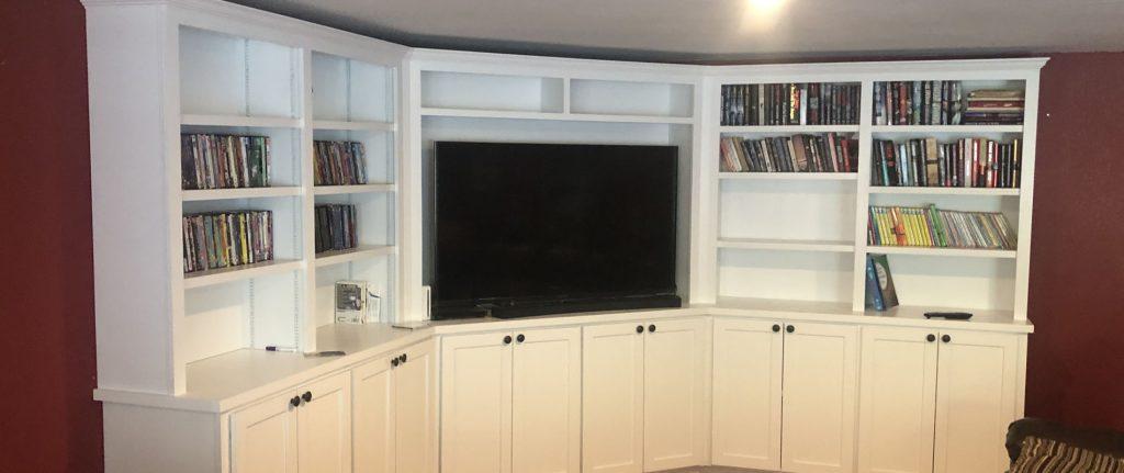 photo of custom built entertainment center cabinet