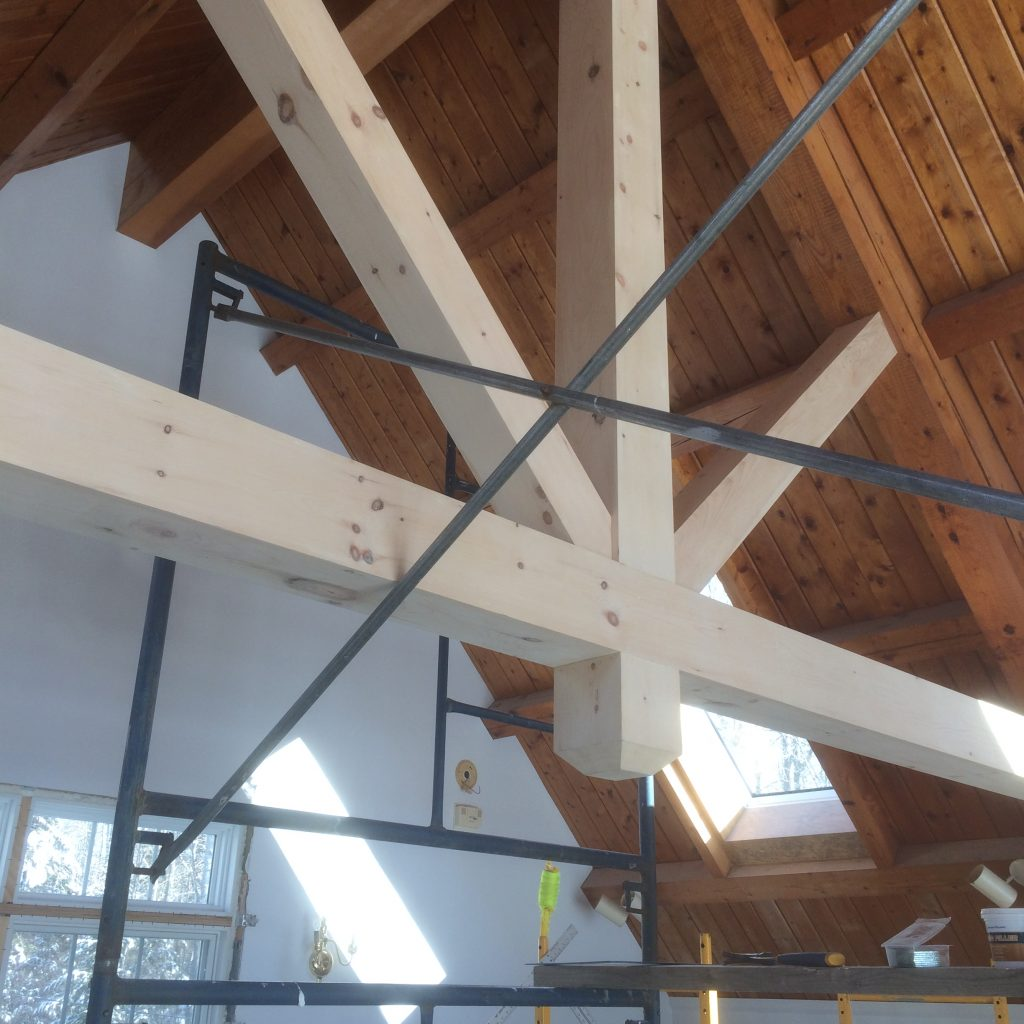 "Completely custom ""false"" beams. Made to replicate timbers"