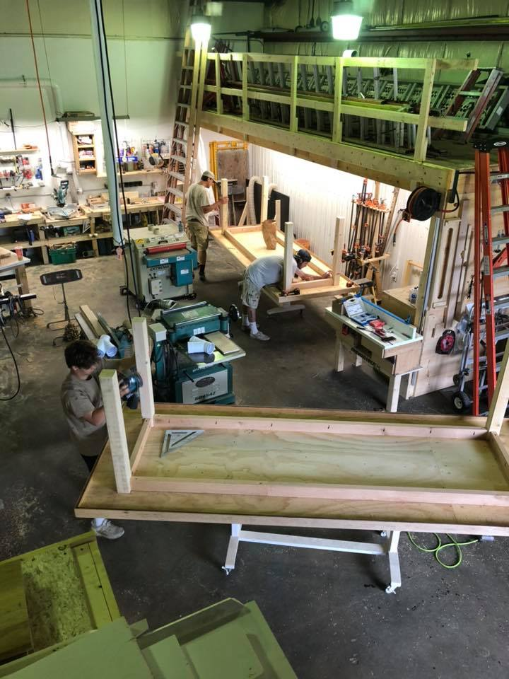 Birds eye view of our workshop. Working on some local restaurant tables