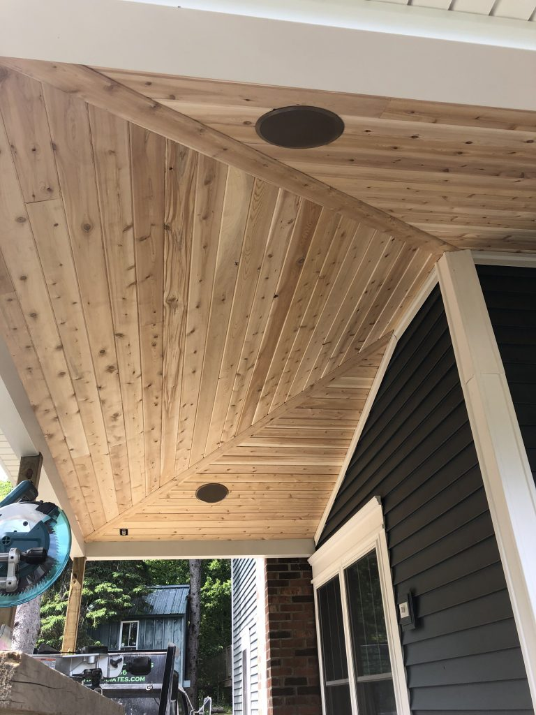 Porch ceilings are important too. Locally sourced eastern white cedar