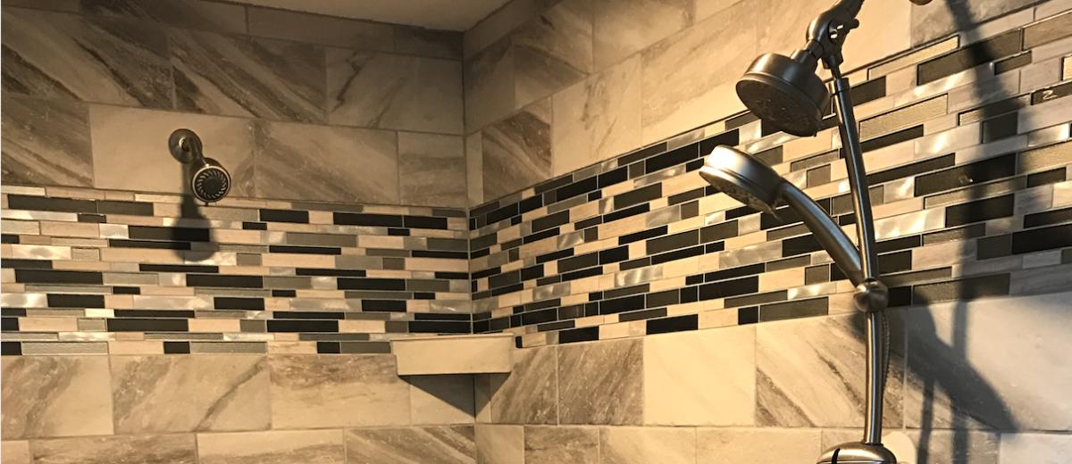 photo of custom tile shower and multiple shower heads